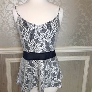 Maurice camisole navy and white lace large